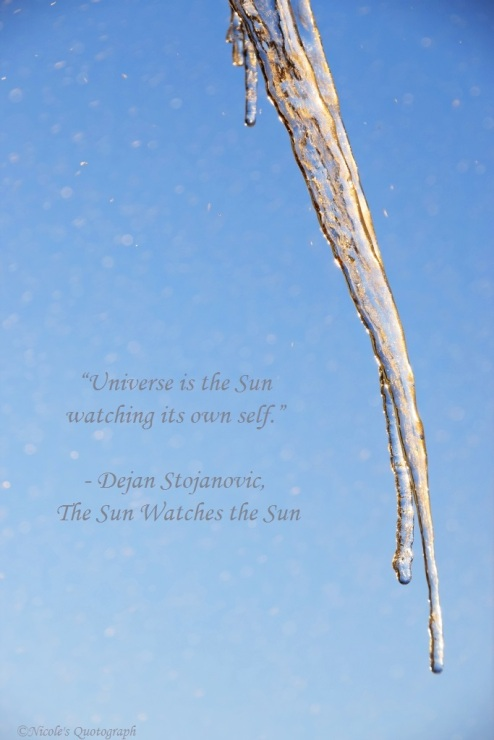 the universe... looking at itself in the frozen mirror