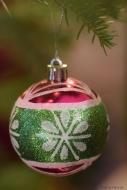pinkish green snowflakes